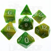 TDSO Duel Green & Yellow With White 7 Dice Polyset