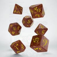 Q Workshop Classic RPG Pearl Caramel & Yellow 7 Dice Polyset
