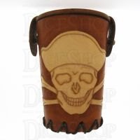 QD Jolly Roger Tan Leather Dice Cup