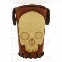 QD Skull Tan Leather Dice Cup