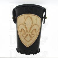 QD Fleur De Lis Black Leather Dice Cup