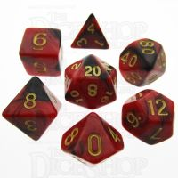 TDSO Duel Black & Red With Gold 7 Dice Polyset - Discontinued
