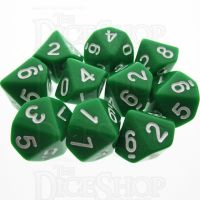 TDSO Opaque Green 10 x D10 Dice Set