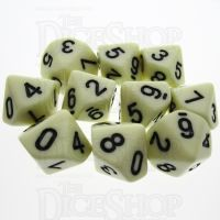 TDSO Opaque Ivory 10 x D10 Dice Set