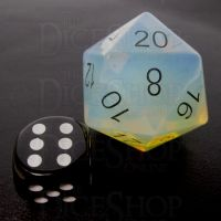 TDSO Opalite with Engraved Black Numbers JUMBO 30mm Precious Gem D20 Dice
