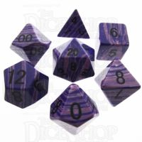 TDSO Turquoise Purple Wave Synthetic 16mm Precious Gem 7 Dice Polyset
