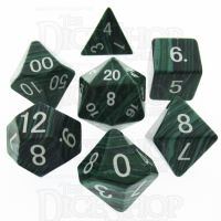 TDSO Turquoise Malachite Synthetic 16mm Precious Gem 7 Dice Polyset