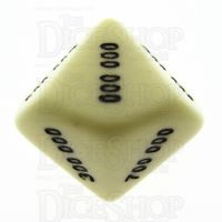 Koplow Opaque Ivory Value Hundred Thousands D10 Dice