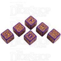 Q Workshop Battletech House Marik Purple & Yellow 6 x D6 Dice Set