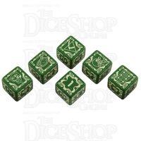 Q Workshop Battletech House Liao Green & Yellow 6 x D6 Dice Set