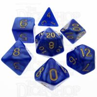 TDSO Pearl Blue & Gold 7 Dice Polyset