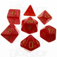 TDSO Pearl Red & Gold 7 Dice Polyset