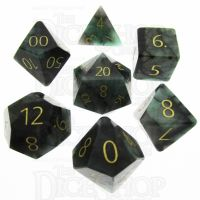 TDSO Emerald with Engraved Gold Numbers 16mm Precious Gem 7 Dice Polyset