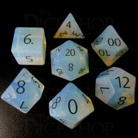 TDSO Opalite with Engraved Black Numbers 16mm Precious Gem 7 Dice Polyset