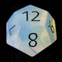 TDSO Opalite with Engraved Black Numbers 16mm Precious Gem D12 Dice