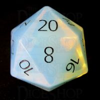 TDSO Opalite with Engraved Black Numbers 16mm Precious Gem D20 Dice