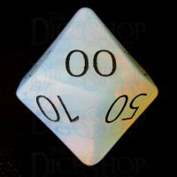 TDSO Opalite with Engraved Black Numbers 16mm Precious Gem Percentile Dice
