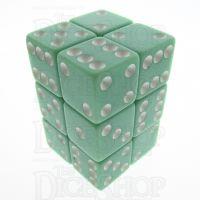 Koplow Opaque Pastel Green & White Square Cornered 12 x D6 Dice Set