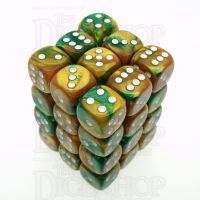 Chessex Gemini Gold & Green 36 x D6 Dice Set