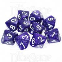 TDSO Pearl Purple & White 10 x D10 Dice Set