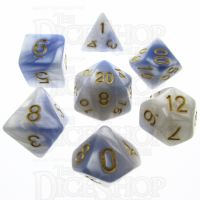 TDSO Duel Blue & White 7 Dice Polyset - Discontinued