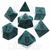 TDSO Turquoise Green Synthetic with Engraved Numbers 16mm Precious Gem 7 Dice Polyset