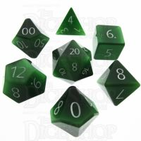 TDSO Cats Eye Dark Green with Engraved Numbers 16mm Precious Gem 7 Dice Polyset