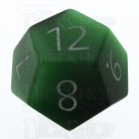 TDSO Cats Eye Dark Green with Engraved Numbers 16mm Precious Gem D12 Dice