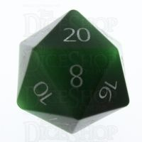 TDSO Cats Eye Dark Green with Engraved Numbers 16mm Precious Gem D20 Dice