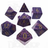 TDSO Turquoise Purple Wave Synthetic with Engraved Numbers 16mm Precious Gem 7 Dice Polyset