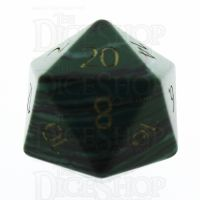 TDSO Malachite Green Synthetic Turquoise with Engraved Numbers 16mm Precious Gem D20 Dice