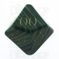 TDSO Malachite Green Synthetic Turquoise with Engraved Numbers 16mm Precious Gem Percentile Dice