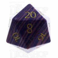 TDSO Turquoise Purple Wave Synthetic with Engraved Numbers 16mm Precious Gem D20 Dice
