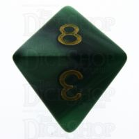 TDSO Pearl Green & Gold D8 Dice