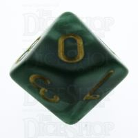 TDSO Pearl Green & Gold D10 Dice