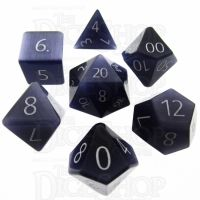 TDSO Cats Eye Kynite with Engraved Numbers 16mm Precious Gem 7 Dice Polyset