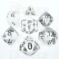 TDSO Quartz Clear with Engraved Numbers 16mm Precious Gem 7 Dice Polyset