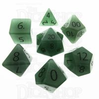 TDSO Aventurine Green with Engraved Numbers 16mm Precious Gem 7 Dice Polyset