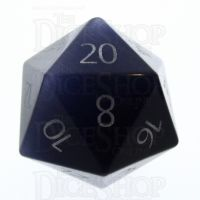 TDSO Cats Eye Kynite with Engraved Numbers 16mm Precious Gem D20 Dice