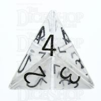 TDSO Quartz Clear with Engraved Numbers 16mm Precious Gem D4 Dice