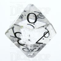 TDSO Quartz Clear with Engraved Numbers 16mm Precious Gem D10 Dice