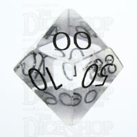 TDSO Quartz Clear with Engraved Numbers 16mm Precious Gem Percentile Dice