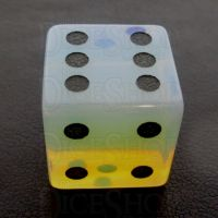 TDSO Opalite with Engraved Spots 16mm Precious Gem D6 Dice