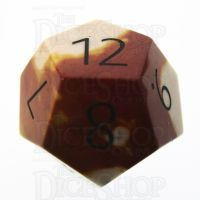 TDSO Mookaite with Engraved Numbers 16mm Precious Gem D12 Dice