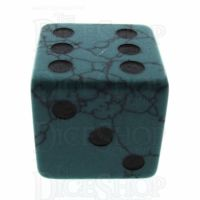 TDSO Turquoise Green Synthetic with Engraved Spots 16mm Precious Gem D6 Dice