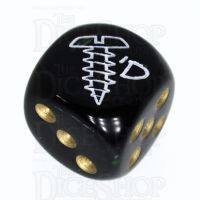 Chessex Opaque Black & Gold SCREWED Logo D6 Spot Dice