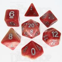 TDSO Duel Ivory & Red with Silver Dice Polyset - Discontinued