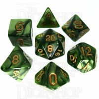 TDSO Pearl Verdant Green & Gold 7 Dice Polyset