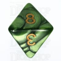 TDSO Pearl Verdant Green & Gold D8 Dice