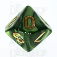 TDSO Pearl Verdant Green & Gold D10 Dice